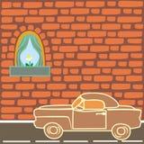 Old car. Vector illustration of vintage car near brick wall vector illustration