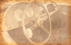 Old Car Added Old paper texture. Royalty Free Stock Images