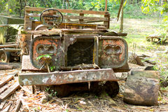 Old car antique rusted left in farm Stock Image