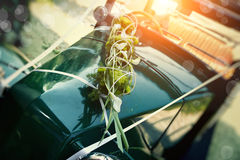 Old car as a wedding car Bride Royalty Free Stock Photo