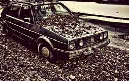 Old Car autumn Photography retro vintage. Dark autumn, forgotten car Stock Images