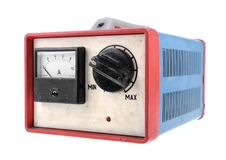 Old car battery charger Stock Images