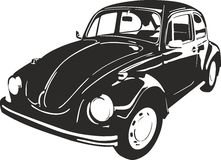 Old car beetle. Vector ilustration of an black old car beetle suitable for cutter plotter Royalty Free Stock Images