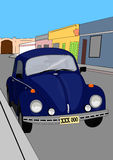 Old car in blue. Illustration of a old car in blue royalty free illustration