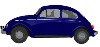 Old car in blue Lateral. Illustration of a old car in blue vector illustration