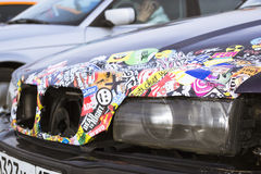 Old-car BMW 3-series with color stickers Stock Image