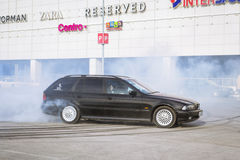Old-car BMW 5-series e39 to drift Royalty Free Stock Photo