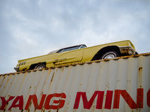 Old car on container Stock Photo