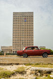 Old car. Crossing the malecon, havana. Cuba stock photography