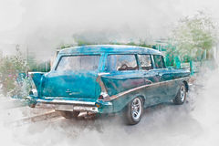Old car in Cuba, back,  watercolor. Old car in Cuba, digital watercolor illustration Stock Photo