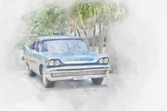Old car in Cuba, watercolor Stock Photography