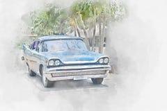Old car in Cuba, watercolor. Old car in Cuba, digital watercolor illustration Stock Photography