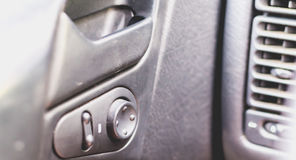 Old car dashboard of the 90s Royalty Free Stock Photos