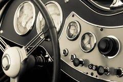 Old car dashboard Stock Photo