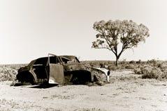 Old car in the desert Stock Photo