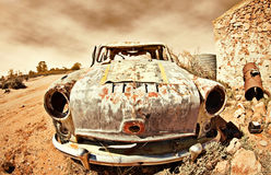 Old car in the desert Stock Image