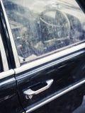 Old car details with Door handle steering wheel Stock Image