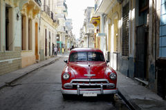 Old car in downtown backstreet Havana Stock Images