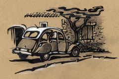 Old car. drawing Royalty Free Stock Images