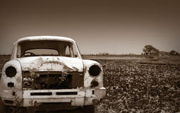 Old Car In The Empty Land Stock Image