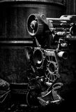 Old car engine, black and white photo Stock Images