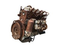 Old car engine isolated on white background. Rusty automotive engine.  Clipping path. Old car engine isolated on white background. Rusty automotive engine stock photo