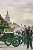 Old Car Exhibitions at Recoleta Park in Buenos Aires. BUENOS AIRES, ARGENTINA - AUGUST - 2015 - Old car exhibition at recoleta park with white basilica at Stock Photos