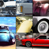Old car exterior details collage Stock Images