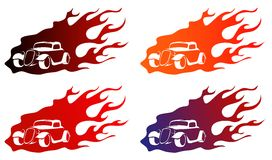 Old car on fire logo. Logo old-fashioned retro-styled car 1930s on fire background Royalty Free Stock Image