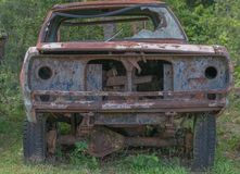 The old car. And Forest background Royalty Free Stock Photo