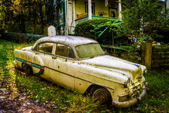 Old car in front of a house in Harpers Ferry, West Virginia. Royalty Free Stock Images