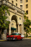 Old car. In front of National Hotel, the Havana. Cuba royalty free stock photo