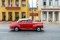 HAVANA, CUBA - OCTOBER 21, 2017: Old Car in Havana, Cuba. Pannnig. Retro Vehicle Usually Using As A Taxi For Local People and Tour Royalty Free Stock Image