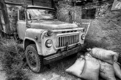 Old car hdr. Grunge old hdr car black white stock photography