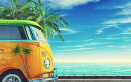 Old car on highway. Near the sea. This is a 3d render illustration stock illustration