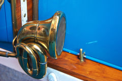 Old Car Horn. Attached on a blue vintage car Royalty Free Stock Image