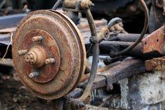 Old car hub. Rusty old damaged car hub Royalty Free Stock Image