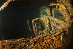 Old Car inside II world war ship wreck hold Royalty Free Stock Images
