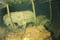 Old Car inside II world war ship wreck hold Stock Image