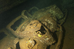 Old Car inside II world war ship wreck in Red sea Stock Photos