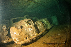 Old Car inside II world war ship wreck in Red sea Royalty Free Stock Photos