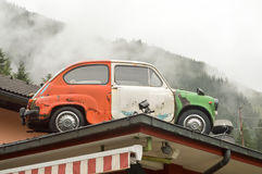 Old car with Italian colors on a restaurant Stock Images