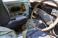 The old car junk yard. Interior Royalty Free Stock Image