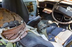 The old car junk yard. Interior Royalty Free Stock Images