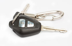 Old car key with remote control on white background Royalty Free Stock Image