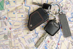 Old car keys on a map. Stock Image