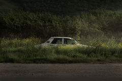 Old Car. Left in the bush to rust, dusck with road light for lighting and green gras which creates great mood Stock Photography