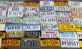 Old car license plates Stock Photo