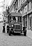 Old car in lisbon. Snack bar black and white Royalty Free Stock Photography
