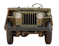 Old car military jeep from 1966 isolated on white